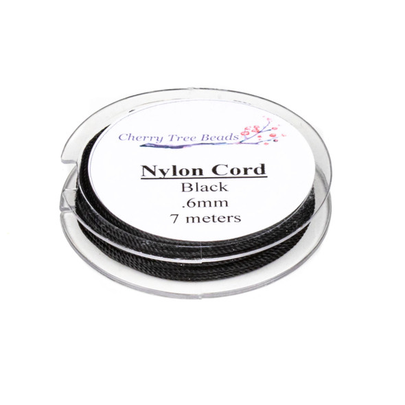 Nylon Cord - Black, .6mm, 7 meter spool