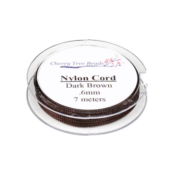 Nylon Cord - Dark Brown, .6mm, 7 meter spool