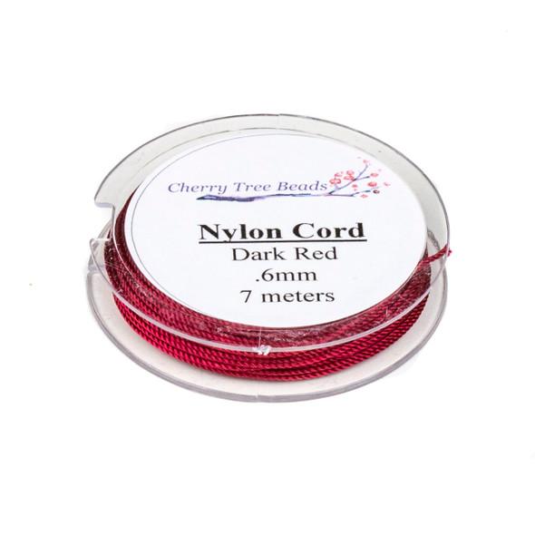 Nylon Cord - Dark Red, .6mm, 7 meter spool