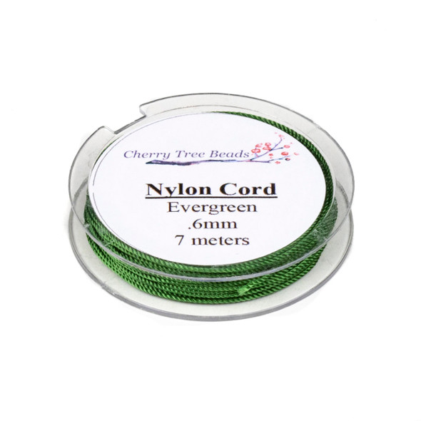 Nylon Cord - Evergreen , .6mm, 7 meter spool