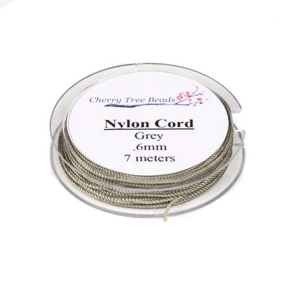 Nylon Cord - Grey, .6mm, 7 meter spool