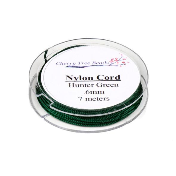 Nylon Cord - Hunter Green, .6mm, 7 meter spool