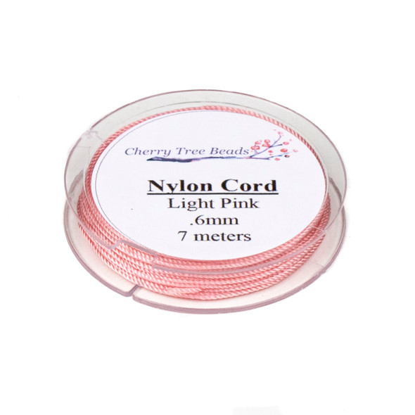 Nylon Cord - Light Pink, .6mm, 7 meter spool