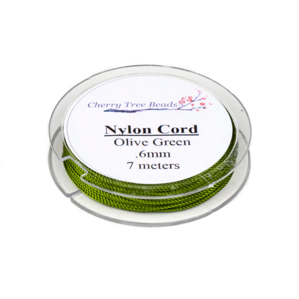 Nylon Cord - Olive Green, .6mm, 7 meter spool