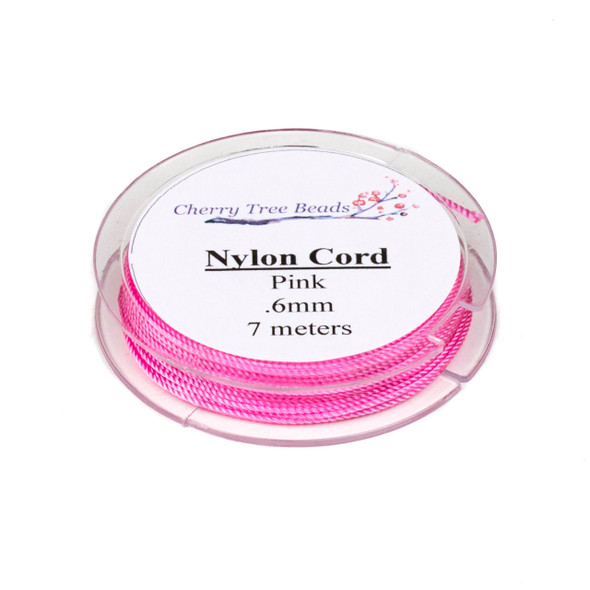 Nylon Cord - Pink, .6mm, 7 meter spool
