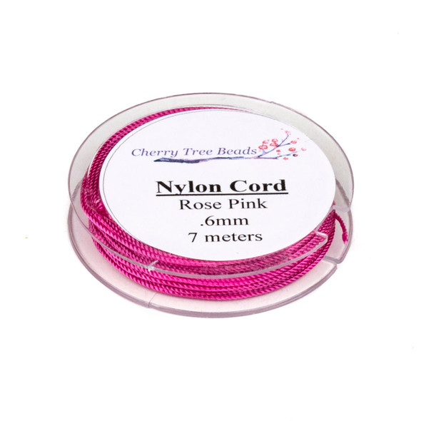 Nylon Cord - Rose Pink, .6mm, 7 meter spool