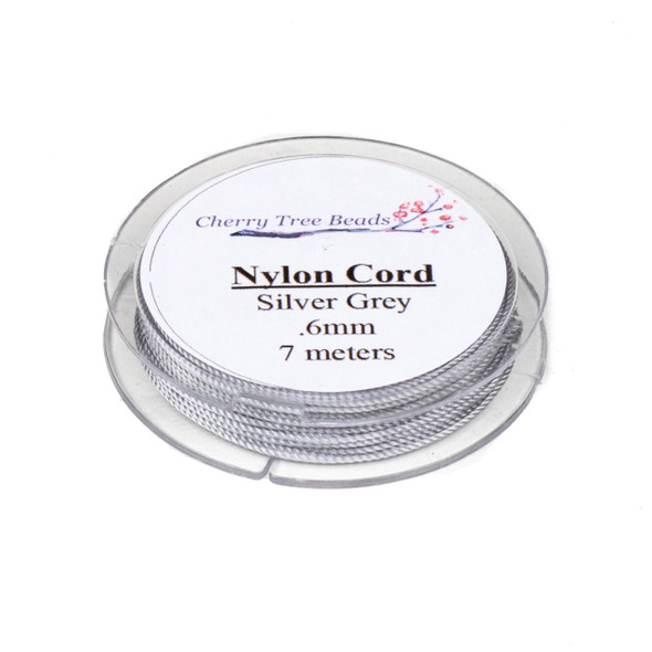 Nylon Cord - Silver Grey, .6mm, 7 meter spool