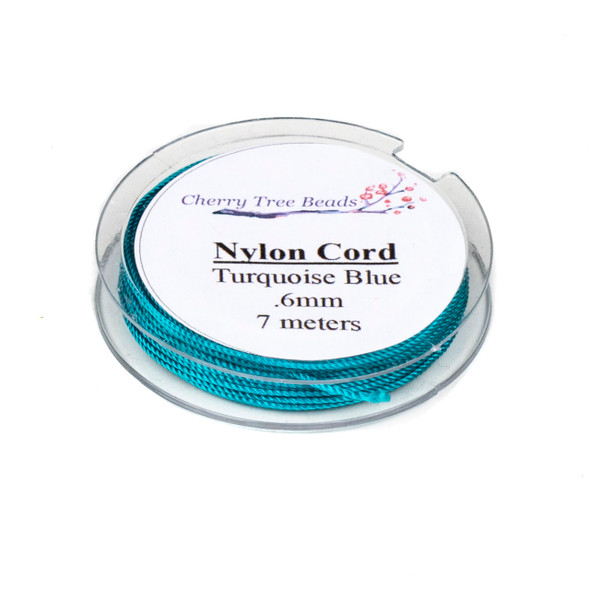 Nylon Cord - Turquoise Blue, .6mm, 7 meter spool