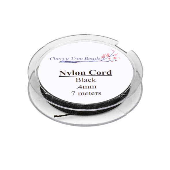 Nylon Cord - Black, .4mm, 7 meter spool