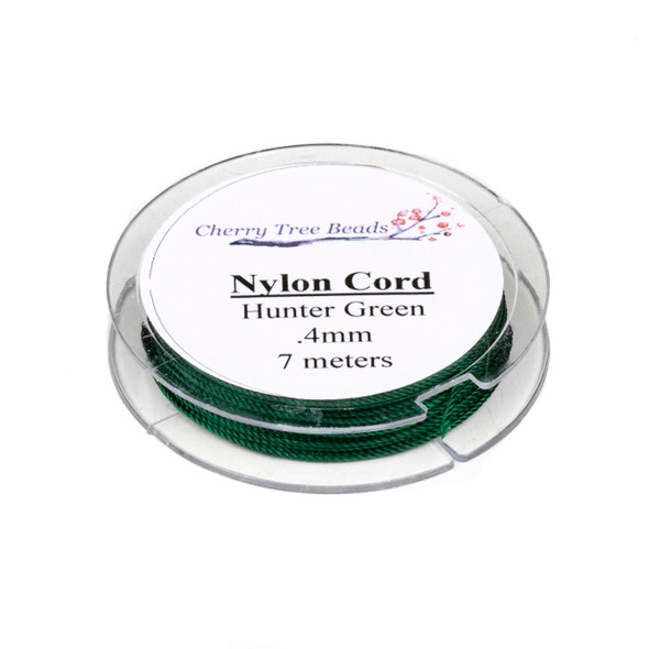 Nylon Cord - Hunter Green, .4mm, 7 meter spool