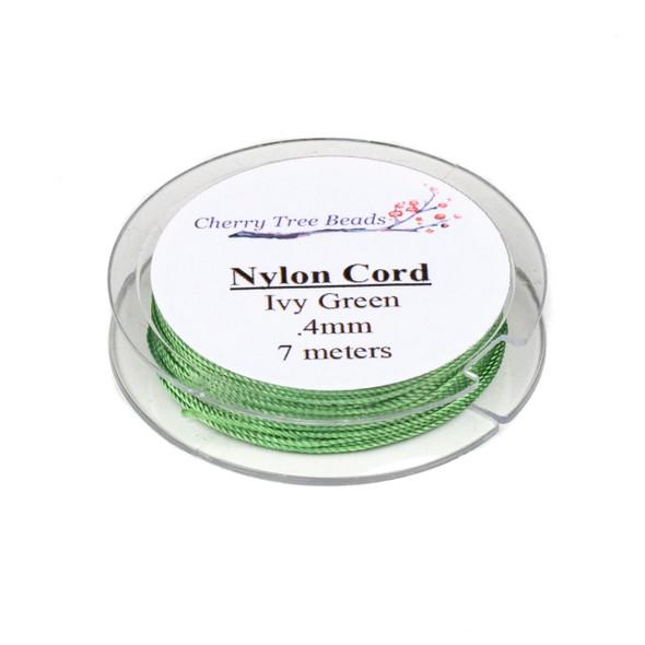 Nylon Cord - Ivy Green, .4mm, 7 meter spool