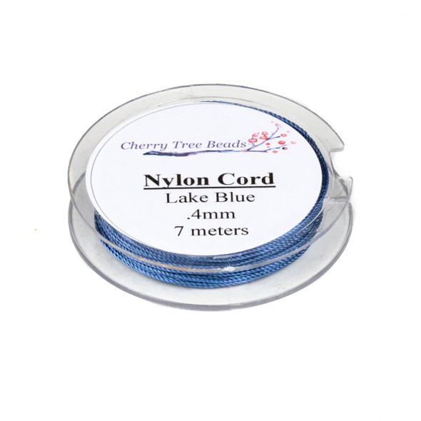 Nylon Cord - Lake Blue, .4mm, 7 meter spool