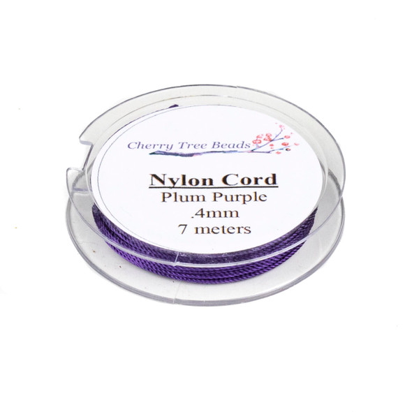 Nylon Cord - Plum Purple, .4mm, 7 meter spool