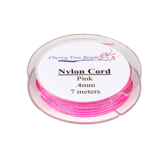 Nylon Cord - Pink, .4mm, 7 meter spool