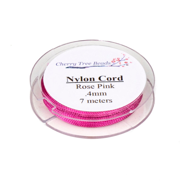 Nylon Cord - Rose Pink, .4mm, 7 meter spool