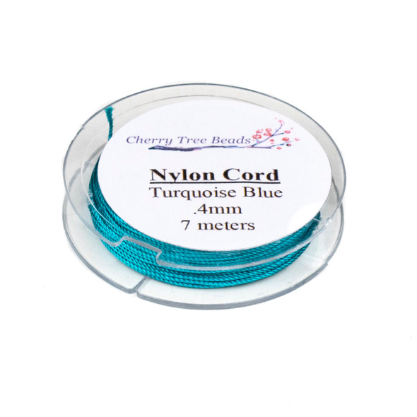 Nylon Cord - Turquoise Blue, .4mm, 7 meter spool
