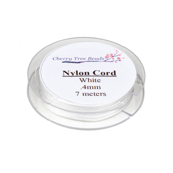 Nylon Cord - White, .4mm, 7 meter spool