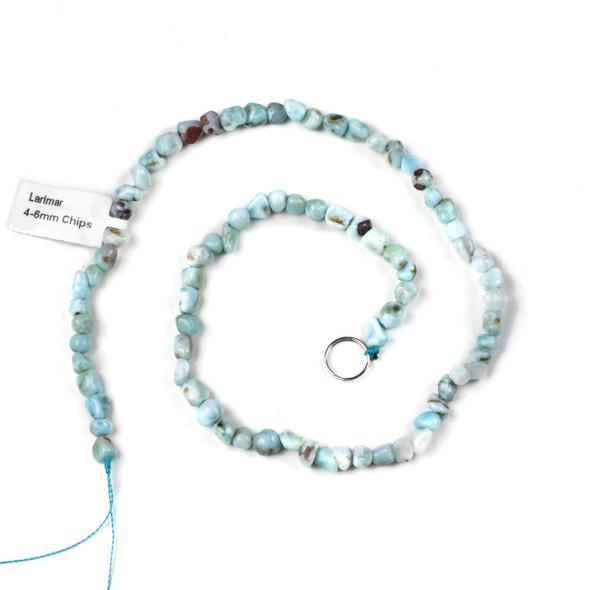 Larimar 4-6mm Chip/Pebble Beads - 15 inch strand