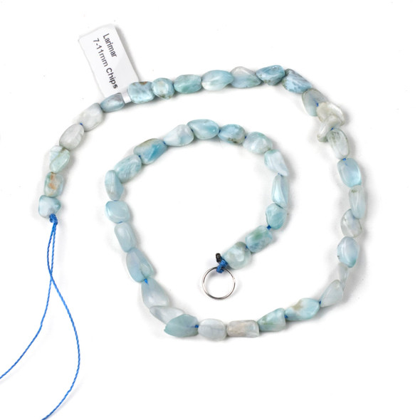 Larimar 7-11mm Chip/Pebble Beads - 15 inch strand