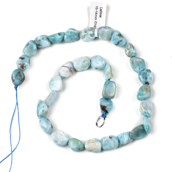 Larimar 10-14mm Chip/Pebble Beads - 15 inch strand
