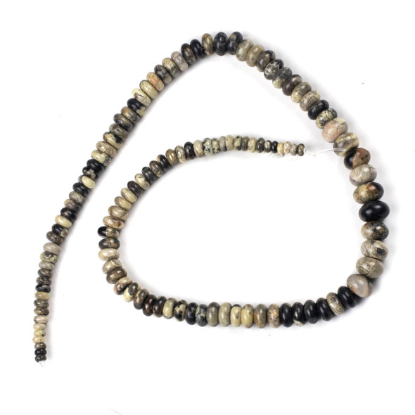 Black Silver Leaf Jasper 4-10mm Graduated Rondelle Beads - 16 inch strand