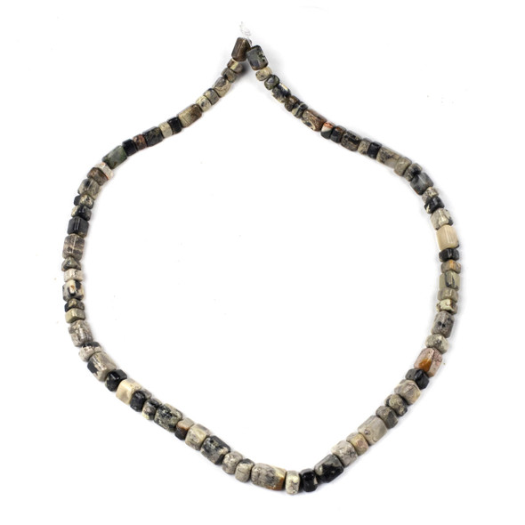 Black Silver Leaf Jasper 4x6-8x12 Graduated Trillion Beads - 16 inch strand