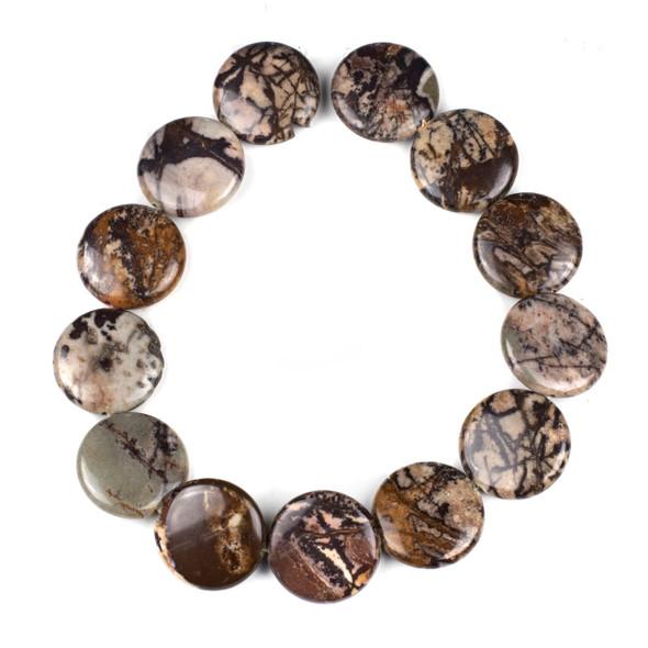 Australian Outback Jasper 30mm Coin Beads - 15 inch strand
