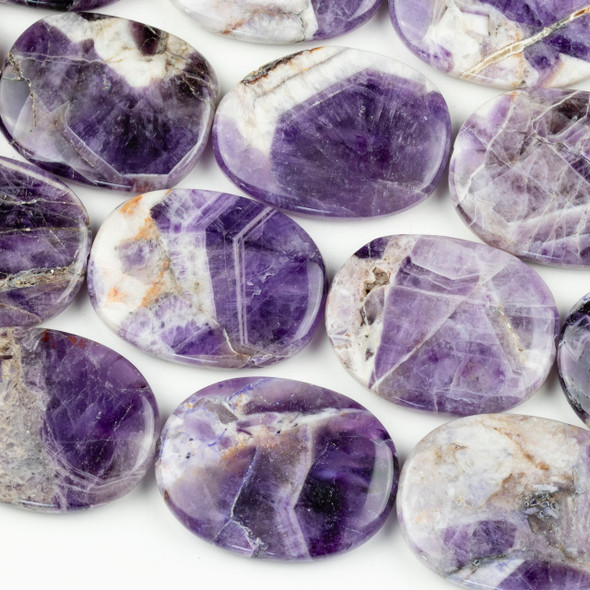 Amethyst 30x40mm Irregular Oval Beads - 16 inch strand