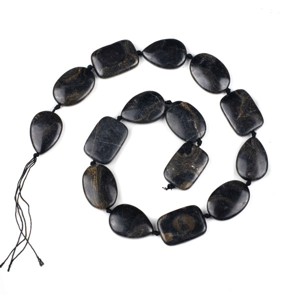 Stromatolite - Turtle Shell Agate 18x25mm alternating Teardrop, Oval, and Rectangle Beads - 16 inch knotted strand