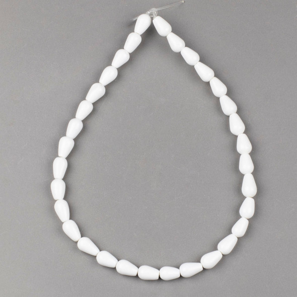 White Agate 8x12-13mm Rounded Teardrop Beads - 17 inch strand