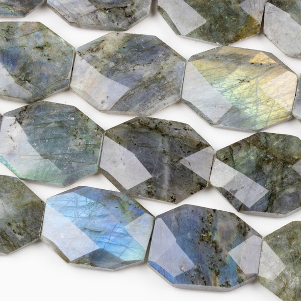 Blue Labradorite 30x38mm Faceted Octagon Beads - 15 inch strand