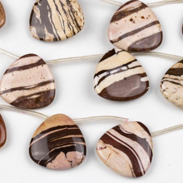 Brown Zebra Jasper 30mm Top Drilled Triangle Flag Beads - 16 inch strand