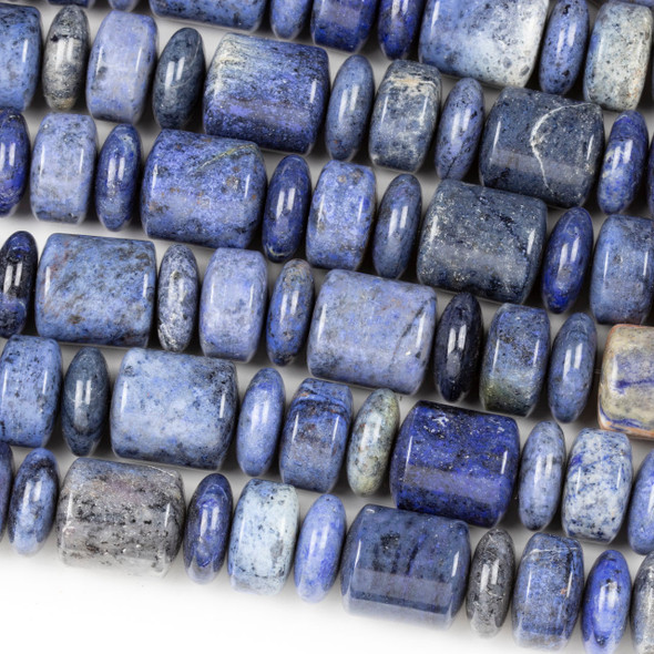 Dumortierite 7x18mm Rondelle, 10x18mm Barrel, and 18x20mm Barrel Beads - 8 inch strand