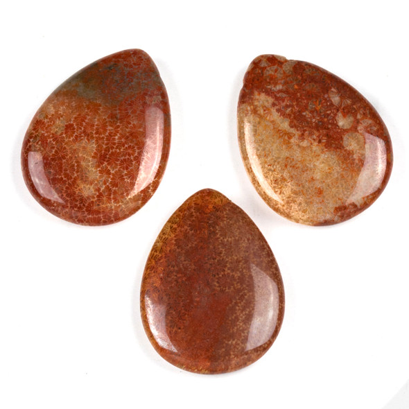 Red Fossilized Coral 29x39mm Top Drilled Teardrop Pendant - 1 per bag