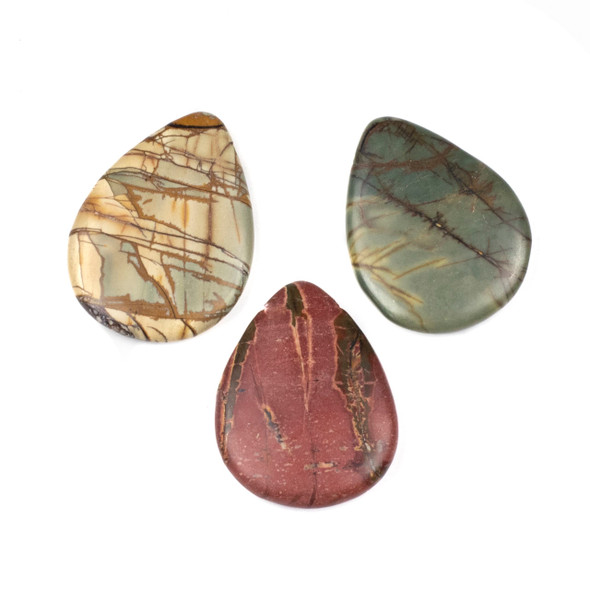 Red Cherry Creek Jasper 30x40mm Top Drilled Teardrop Pendants - 1 per bag