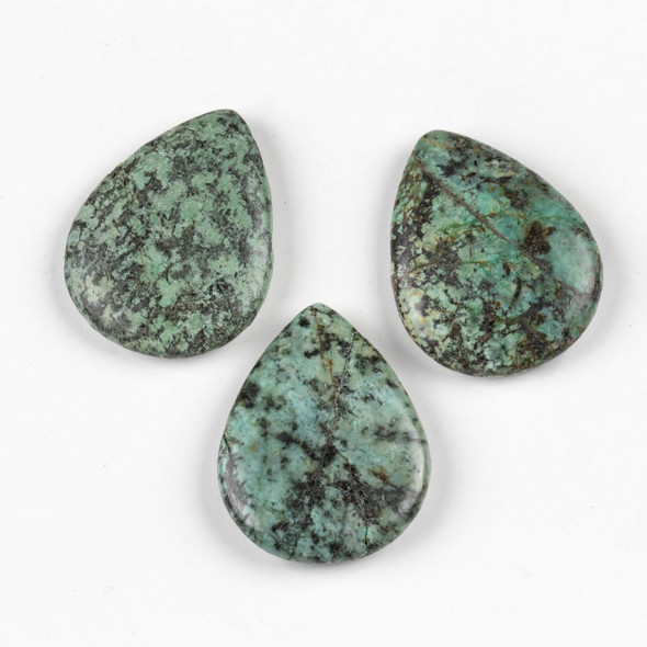 African Turquoise 35x45mm Top Drilled Teardrop Pendant - 1 per bag