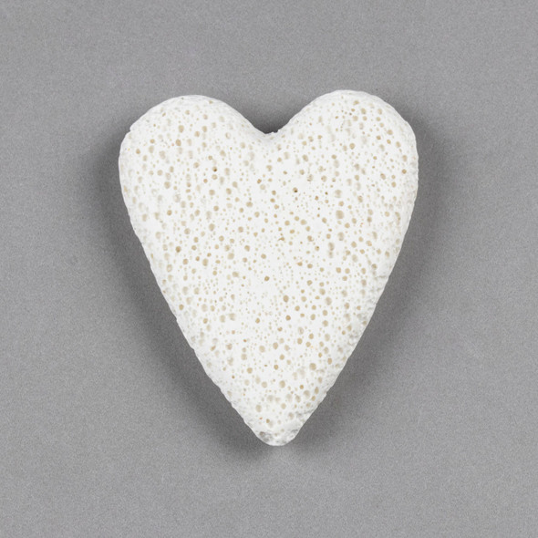 White Lava 48x60mm Top Drilled Heart Pendant - 1 per bag