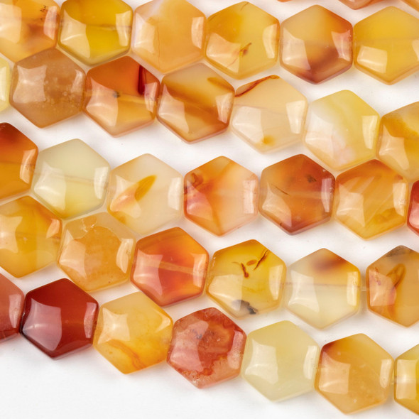 Carnelian 12x13mm Hexagon Beads - 16 inch strand