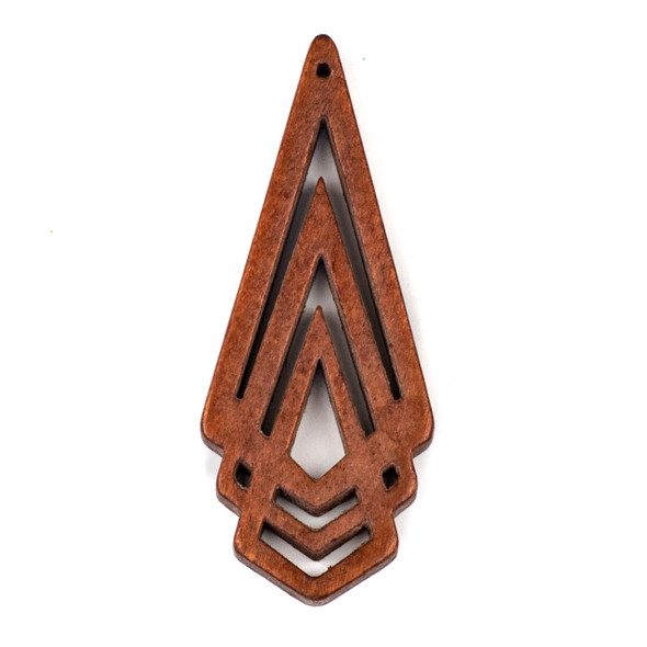 Aspen Wood Laser Cut 29x72mm Brown Layered Geometric Pendant - 1 per bag