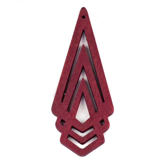 Aspen Wood Laser Cut 29x72mm Red Layered Geometric Pendant - 1 per bag