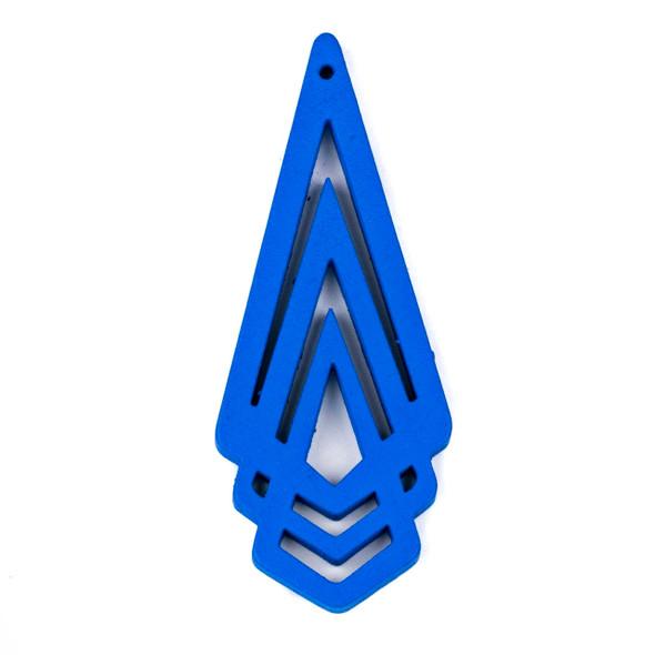 Aspen Wood Laser Cut 29x72mm Bright Blue Layered Geometric Pendant - 1 per bag
