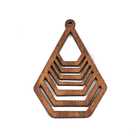 Aspen Wood Laser Cut 43x59mm Brown Geometric Teardrop Pendant - 1 per bag