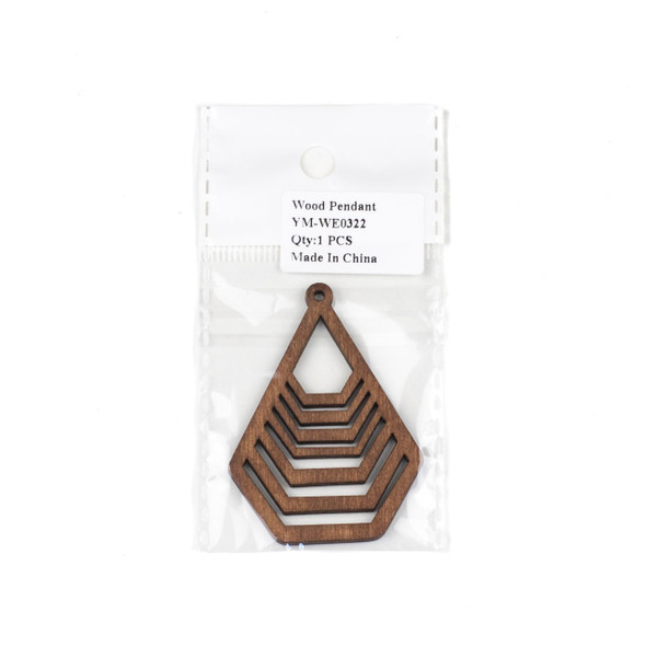 Aspen Wood Laser Cut 43x59mm Brown Geometric Teardrop Pendant - 1 per bag