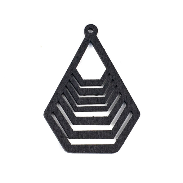 Aspen Wood Laser Cut 43x59mm Black Geometric Teardrop Pendant - 1 per bag