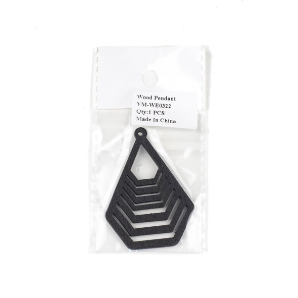 Aspen Wood Laser Cut 43x59mm Black Geometric Teardrop Pendant - 1 per bag