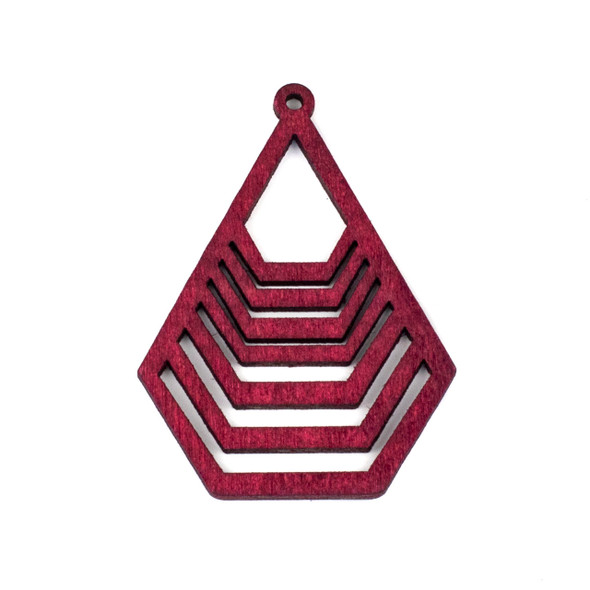Aspen Wood Laser Cut 43x59mm Red Geometric Teardrop Pendant - 1 per bag