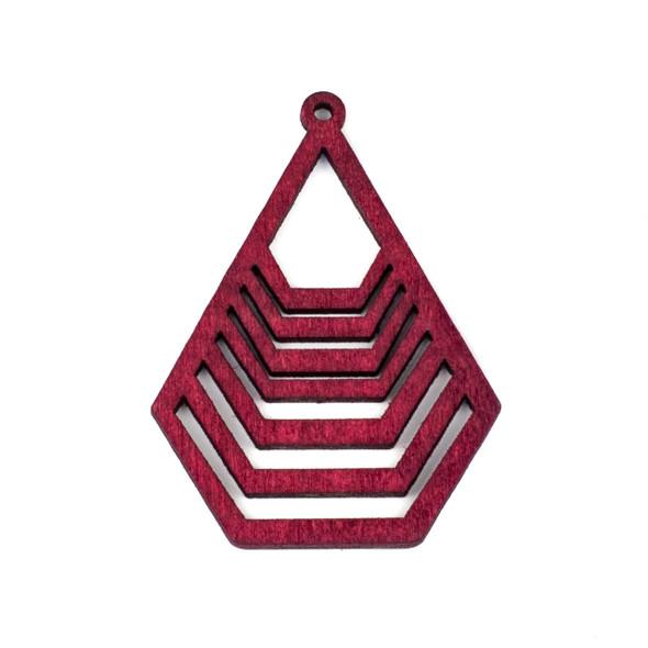 Aspen Wood Laser Cut 43x59mm Red Geometric Teardrop Pendant - 1 per bag
