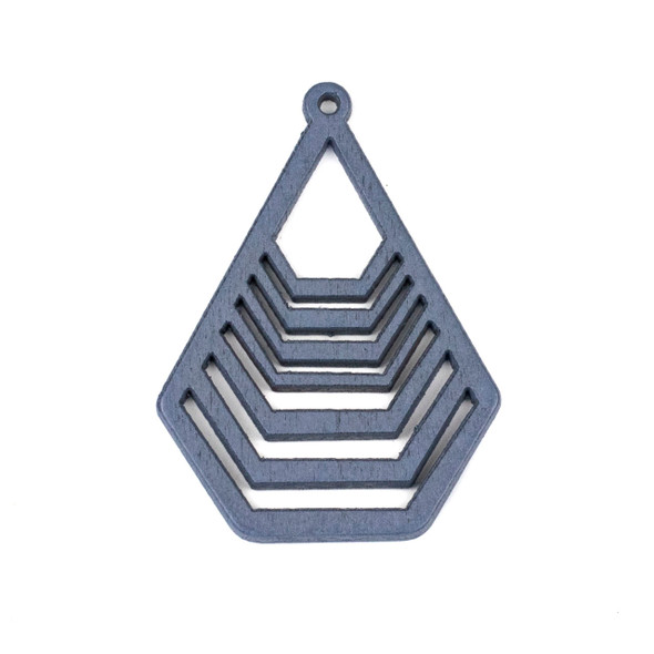 Aspen Wood Laser Cut 43x59mm Grey Geometric Teardrop Pendant - 1 per bag