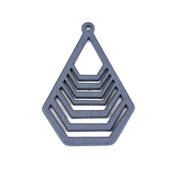 Aspen Wood Laser Cut 43x59mm Grey Geometric Teardrop Pendant - 1 per bag