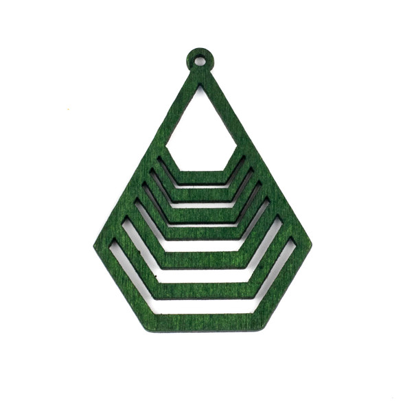 Aspen Wood Laser Cut 43x59mm Green Geometric Teardrop Pendant - 1 per bag